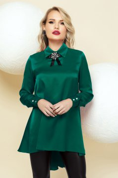 Women`s blouse green from satin occasional asymmetrical accessorized with breastpin flared