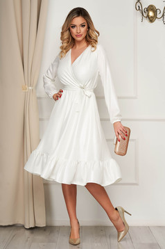 Dress StarShinerS occasional white midi thin fabric cloche with elastic waist