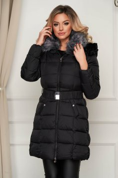 Black jacket midi from slicker with faux fur accessory