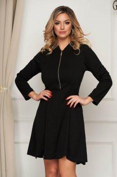 Black dress short cut clubbing cloche from elastic fabric zipper fastening