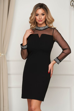 Black dress short cut occasional straight cloth thin fabric with crystal embellished details