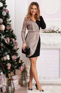 Gold dress short cut occasional pencil cloth with sequins