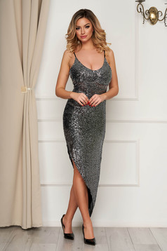 Silver dress occasional asymmetrical with sequins with straps pencil with deep cleavage