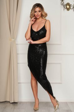 Black dress occasional asymmetrical with sequins with straps pencil with deep cleavage