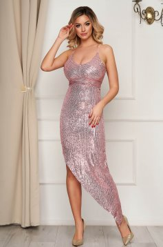 Pink dress occasional asymmetrical with sequins with straps pencil with deep cleavage