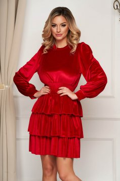 Red dress clubbing cloche with elastic waist velvet short cut