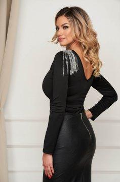 Black body clubbing slightly elastic fabric with fringes