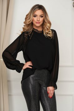 Black women`s blouse elegant short cut flared with lace details