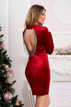 Red dress occasional short cut velvet bare back with fringes pencil