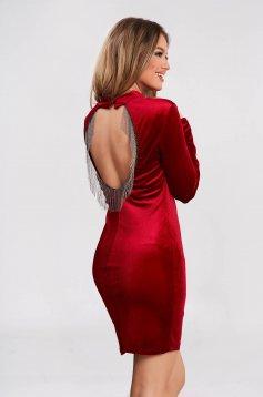 Rochie SunShine rosie scurta de ocazie din catifea tip creion cu spatele gol si franjuri