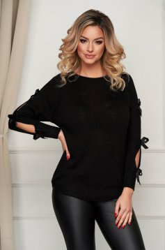 Black sweater knitted with bow accessories casual loose fit