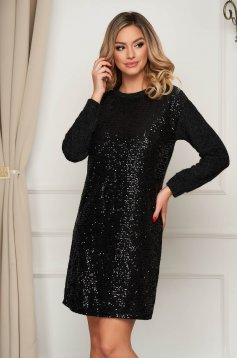 Clubbing short cut from elastic fabric with sequin embellished details black dress
