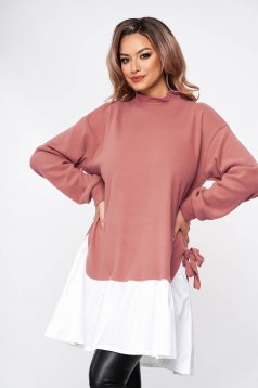 Lightpink dress casual loose fit with bow accessories short cut