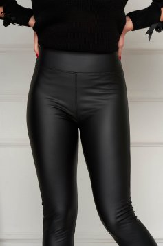 Black tights casual from ecological leather high waisted with tented cut