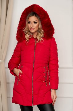 Red jacket midi from slicker detachable hood from ecological fur