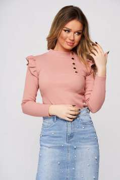 Lightpink women`s blouse tented from striped fabric with ruffle details with turtle neck