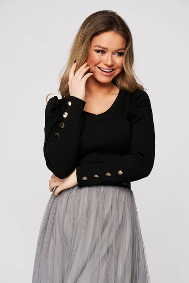 Black women`s blouse tented high shoulders with v-neckline from striped fabric