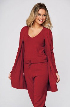 Casual knitted fabric burgundy sport 2 pieces women`s sweater