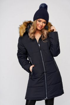 Darkblue jacket midi from slicker with faux fur lining the jacket has hood and pockets