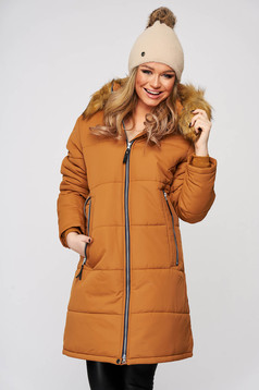 Mustard jacket midi from slicker with faux fur lining the jacket has hood and pockets
