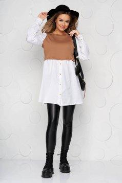 Cappuccino dress shirt dress poplin, thin cotton knitted flared
