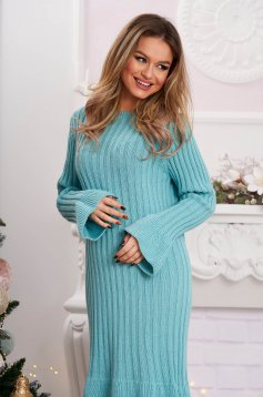 Midi dress aqua from striped fabric knitted with bell sleeve