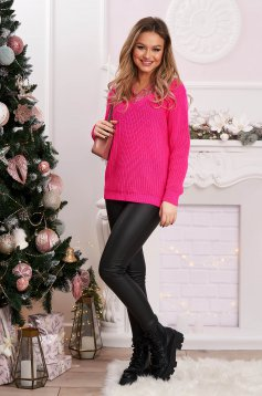 Sweater flared pink knitted with lace details