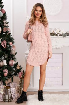Sweater long pink knitted flared