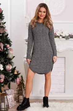Sweater long grey knitted flared