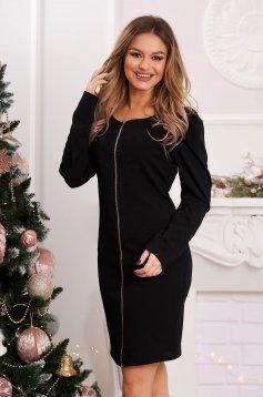 Dress slightly elastic fabric black short cut flared high shoulders