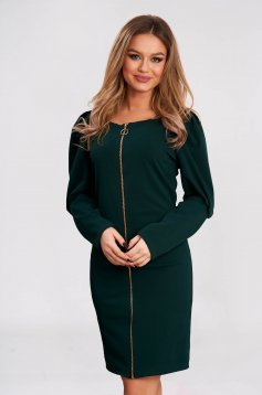 Dress slightly elastic fabric darkgreen short cut flared high shoulders