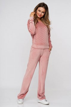 Lightpink sport 2 pieces from two pieces with trousers velvet flared