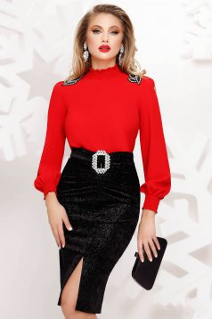 Red women`s blouse elegant flared with turtle neck thin fabric