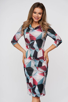 Dress StarShinerS daily grey midi pencil with 3/4 sleeves