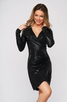 Black dress metallic color wrap around clubbing pencil short cut from elastic fabric