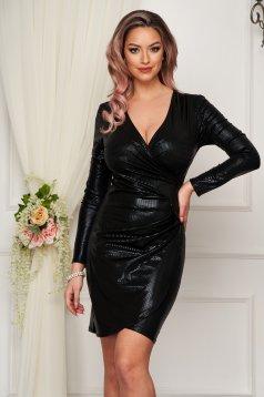 Black dress metallic color wrap around clubbing pencil short cut from elastic fabric