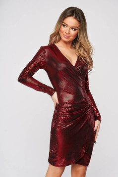 Red dress metallic color wrap around clubbing pencil short cut from elastic fabric