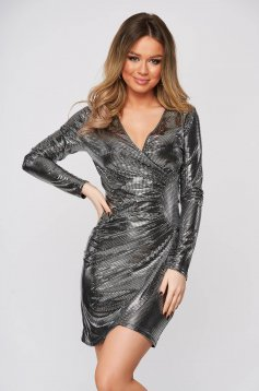 Silver dress metallic color wrap around clubbing pencil short cut from elastic fabric
