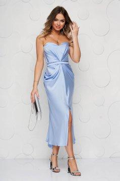 Lightblue dress occasional from satin cloche women`s corset