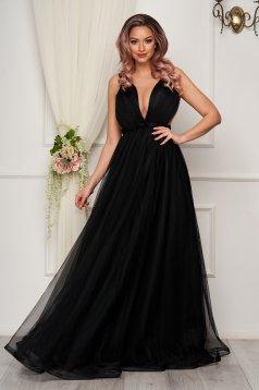 Rochie de lux neagra in clos din tul cu corset la spate