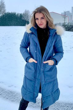 Blue jacket casual long from slicker detachable hood with faux fur accessory