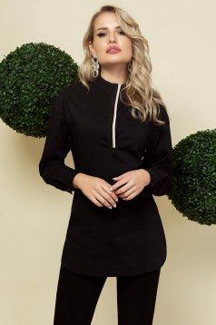 Black women`s shirt elegant long loose fit poplin, thin cotton