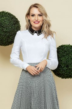 White women`s shirt elegant tented cotton detachable collar with crystal embellished details