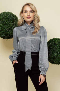 Black women`s blouse office from satin fabric texture dogtooth high collar