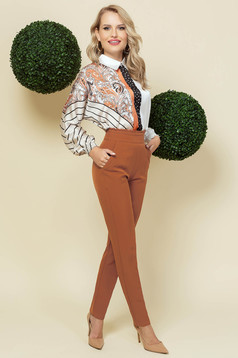 Brown trousers office conical high waisted slightly elastic fabric