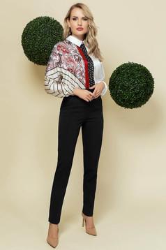 Pantaloni PrettyGirl negri office conici din material usor elastic cu talie inalta