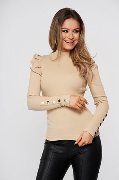 Tented cotton from striped fabric with turtle neck high shoulders cream women`s blouse