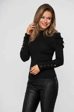 Tented cotton from striped fabric with turtle neck high shoulders black women`s blouse