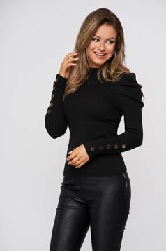 Bluza dama SunShine neagra mulata din bumbac reiat pe gat cu umeri cu volum