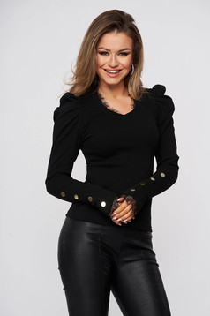 Black women`s blouse tented cotton from striped fabric high shoulders with lace details
